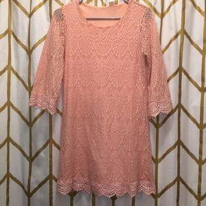 Pale peach bohemian lace mini dress